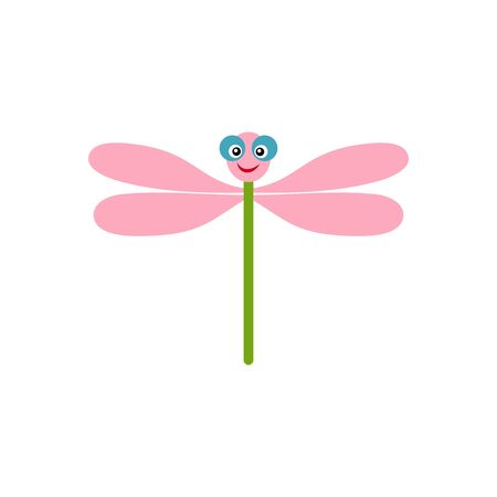 Cute dragonfly. Abstract concept, icon. Vector illustration on white background.
