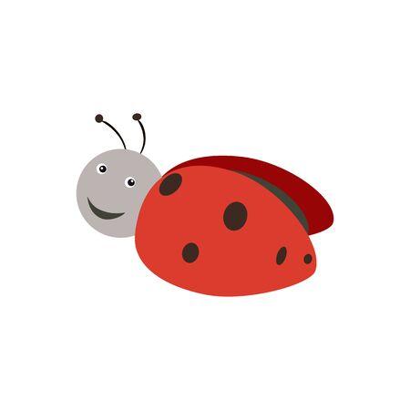 Cute ladybug. Abstract concept, icon. Vector illustration on white background. Ilustracja