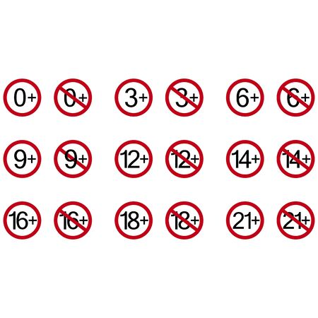 Age restriction symbols. Abstract concept, icon set. Vector illustration on white background.