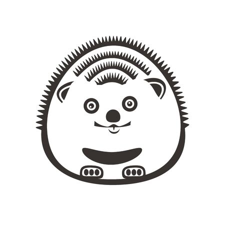 A little hedgehog is smiling. Abstract concept, icon. Vector illustration on white background. Çizim