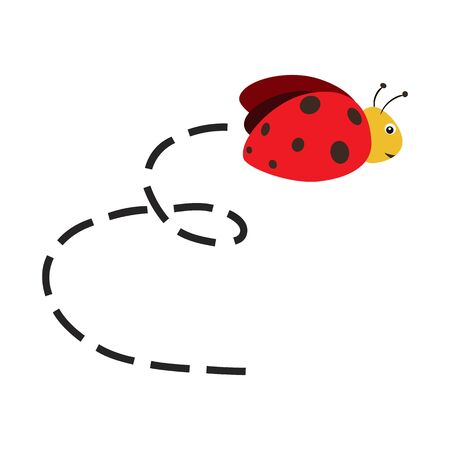 Busy Ladybug. Abstract flying Ladybug and track. Vector illustration on white background.