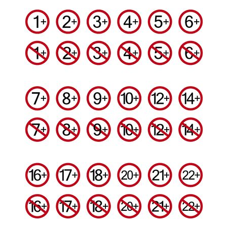 Age restriction symbols. Abstract concept, icon set. Vector illustration on white background. Banco de Imagens - 132115319