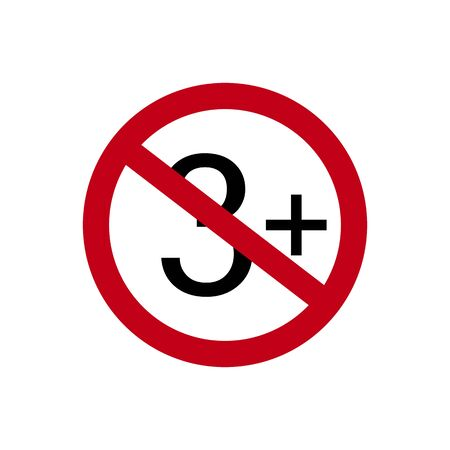 Age restriction symbol. Three plus. Abstract concept, icon. Vector illustration on white background. Banco de Imagens - 132115318