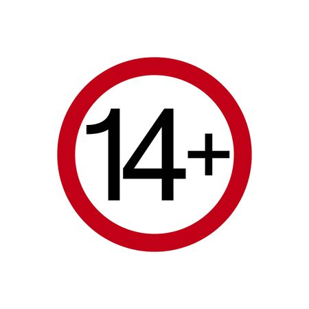 Age restriction symbol. Fourteen plus. Abstract concept, icon. Vector illustration on white background. Banco de Imagens - 132115320