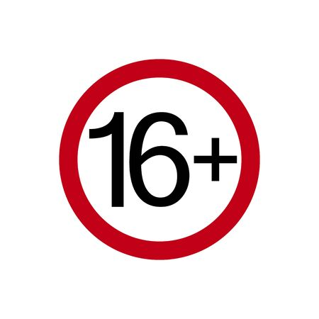 Age restriction symbol. Sixteen plus. Abstract concept, icon. Vector illustration on white background.