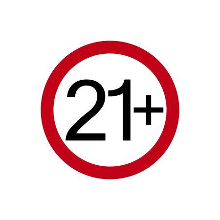 Age restriction symbol. Twenty one plus. Abstract concept, icon. Vector illustration on white background. Ilustração