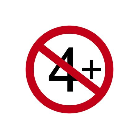 Age restriction symbol. Four one plus. Abstract concept, icon. Vector illustration on white background.