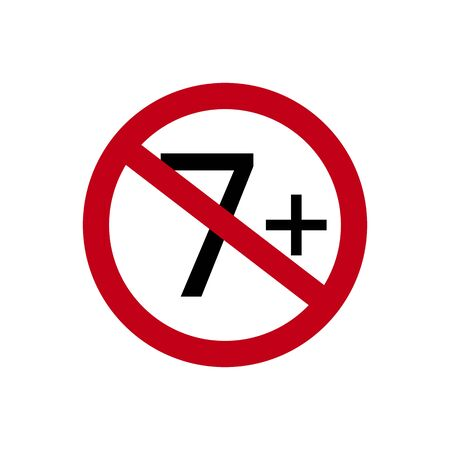 Age restriction symbol. Seven plus. Abstract concept, icon. Vector illustration on white background. Banco de Imagens - 132115331