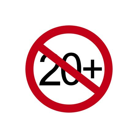 Age restriction symbol. Twenty plus. Abstract concept, icon. Vector illustration on white background.