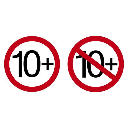 Age restriction symbol. Ten plus. Abstract concept, icon. Vector illustration on white background.  イラスト・ベクター素材