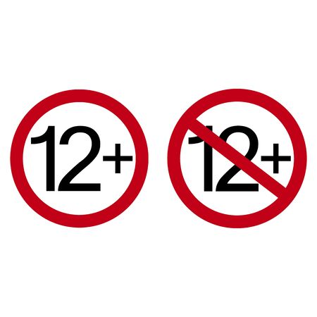Age restriction symbol. Twelve plus. Abstract concept, icon. Vector illustration on white background. Ilustrace