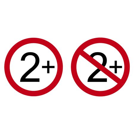 Age restriction symbol. Two one plus. Abstract concept, icon. Vector illustration on white background. Vektorové ilustrace