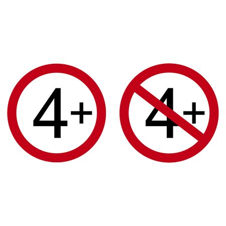 Age restriction symbol. Four one plus. Abstract concept, icon. Vector illustration on white background. Banco de Imagens - 132115822