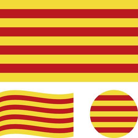 Bandiera della Catalogna. Proporzioni corrette, ondulate, rotonde. Concetto astratto, set di icone. Illustrazione vettoriale.