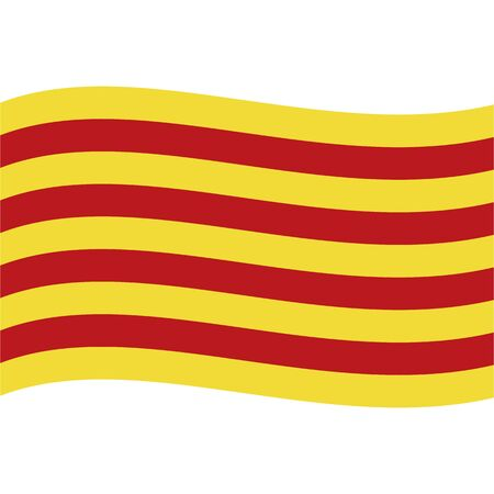 Flag of Catalonia, wave. Abstract concept, icon. Vector illustration. Иллюстрация