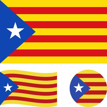 Catalonia Blue Estelada flag. Correct proportions, wave, round. Abstract concept, icon set. Vector illustration. Çizim