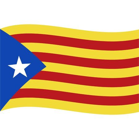 Catalonia Blue Estelada flag, wave. Abstract concept, icon. Vector illustration.