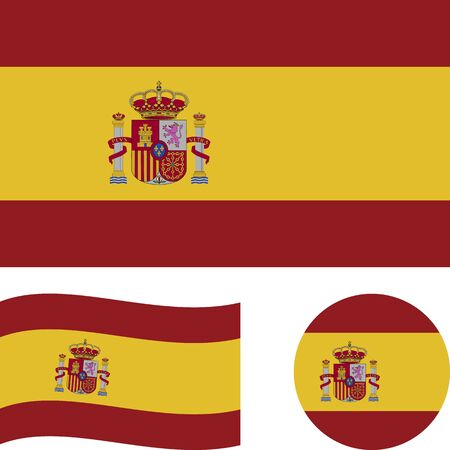 Kingdom of Spain. National flag. Correct proportions, wave, round. Abstract concept, icon set. Vector illustration.
