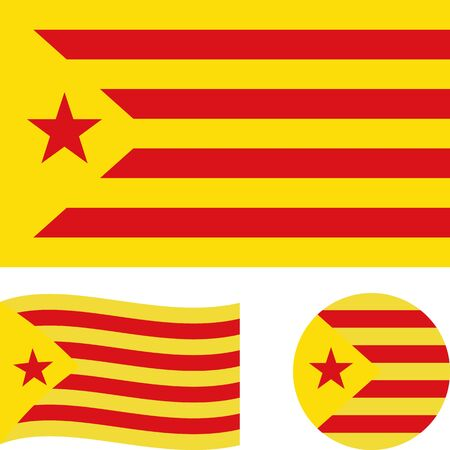 Catalonia Red Estelada flag. Correct proportions, wave, round. Abstract concept, icon set. Vector illustration.