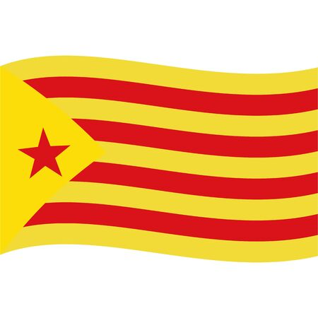 Catalonia Red Estelada flag, wave. Abstract concept, icon. Vector illustration.