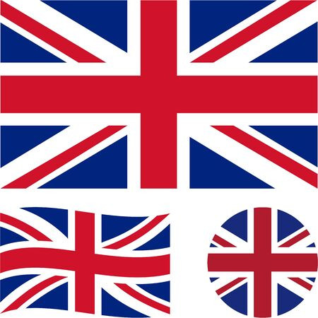 Great Britain. National flag. Correct proportions, wave, round. Abstract concept, icon set. Vector illustration.