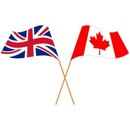 United Kingdom(UK), Canada. National flags, icon. Vector illustration on white background.