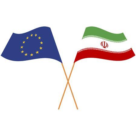 European Union, Islamic Republic of Iran. National flags, icon set. Vector illustration on white background.