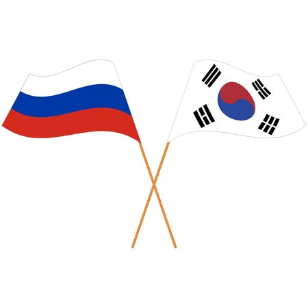 Russian Federation, Republic of Korea. National flags. Abstract concept, icon set. Vector illustration. Illusztráció