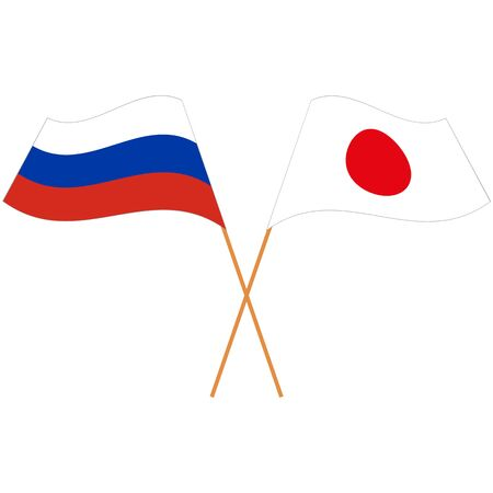 Russian Federation, Japan. National flags. Abstract concept, icon set. Vector illustration.