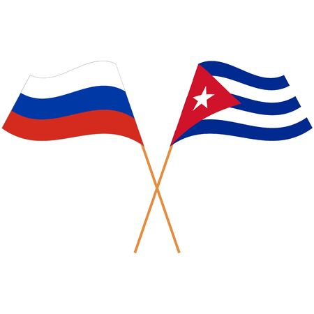 Russian Federation, Republic of Cuba. National flags. Abstract concept, icon set. Vector illustration.