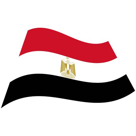 Arab Republic of Egypt. National flag, icon. Vector illustration on white background. Illusztráció