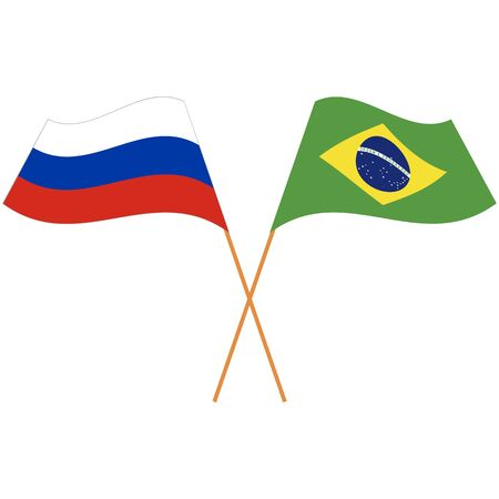 Russian Federation, Federative Republic of Brazil. National flags. Abstract concept, icon set. Vector illustration. Standard-Bild - 132560554