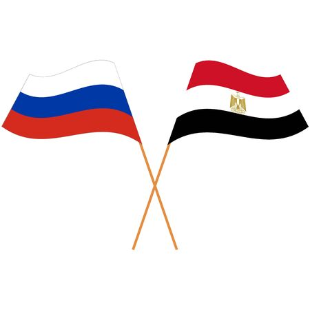 Russian Federation, Arab Republic of Egypt. National flags. Abstract concept, icon set. Vector illustration.