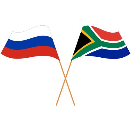 Russian Federation, Republic of South Africa. National flags. Abstract concept, icon set. Vector illustration.