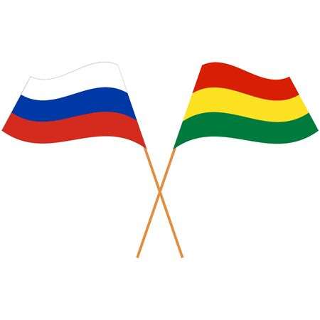 Russian Federation, Plurinational State of Bolivia. National flags, icon set. Vector illustration on white background.