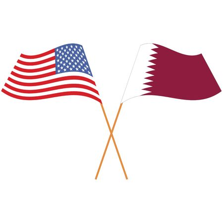 United States of America, State of Qatar. National flags, icon set. Vector illustration on white background.