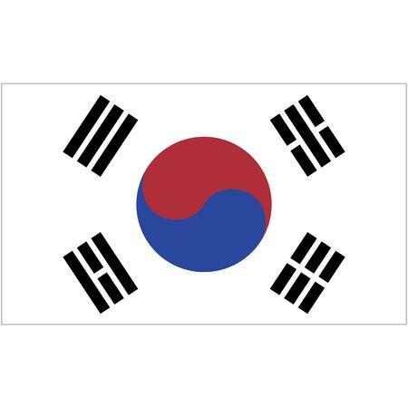 Republic of Korea. National flag, icon. Vector illustration on white background.