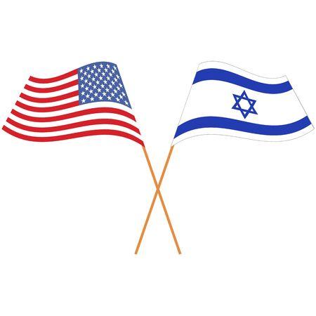 United States of America, State of Israel. National flags, icon set. Vector illustration on white background. Illusztráció