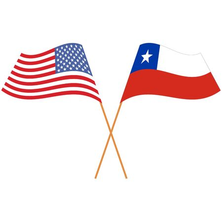 United States of America, Republic of Chile. National flags, icon set. Vector illustration on white background.