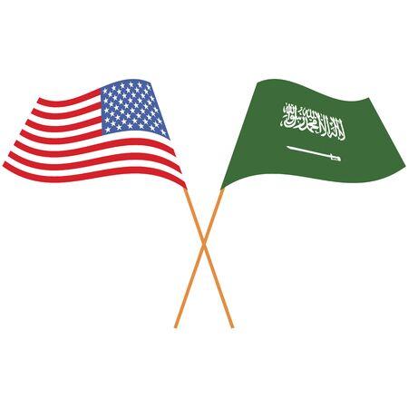 United States of America, Kingdom of Saudi Arabia. National flags, icon set. Vector illustration on white background.