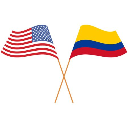 United States of America, Republic of Colombia. National flags, icon set. Vector illustration on white background.