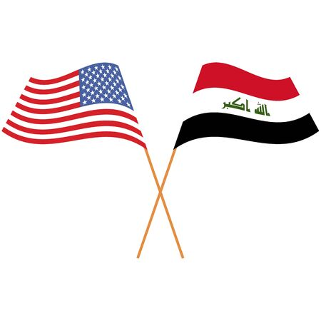 United States of America, Republic of Iraq. National flags, icon set. Vector illustration on white background.
