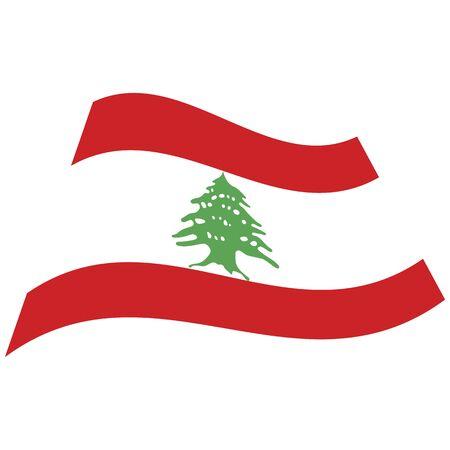 Lebanese Republic. National flag, icon. Vector illustration on white background.