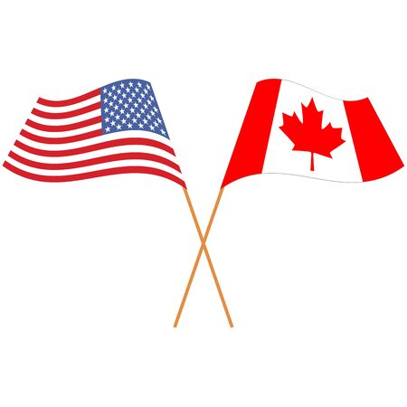 United States of America, Canada. National flags, icon set. Vector illustration on white background. Illusztráció