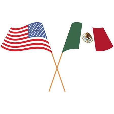 United States of America, United Mexican States. National flags, icon set. Vector illustration on white background.
