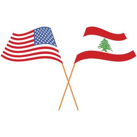United States of America, Lebanese Republic. National flags, icon set. Vector illustration on white background. Illusztráció