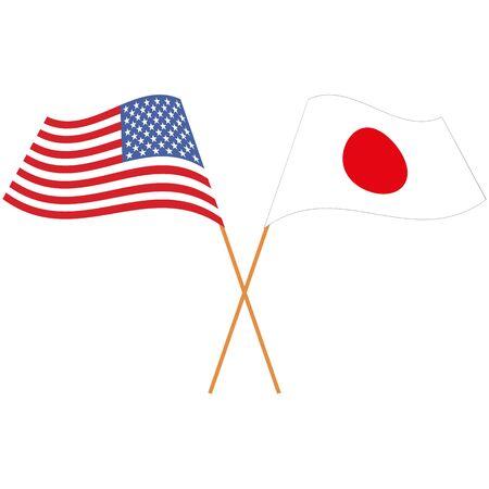 United States of America, Japan. National flags, icon set. Vector illustration on white background. Illusztráció