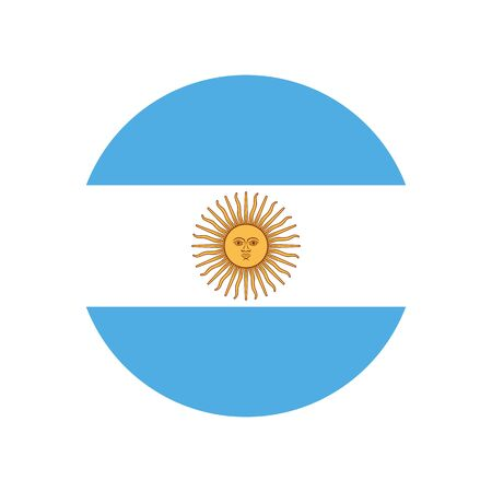 Argentine Republic. National flag, icon. Vector illustration on white background.