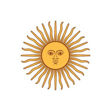 Element of the flag of Argentina. Sun of May. Abstract concept, icon. Vector illustration on white background. 向量圖像