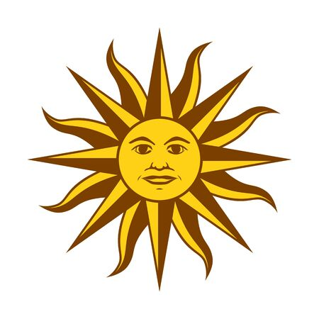 Element of the flag of Uruguay. Sun of May. Abstract concept, icon. Vector illustration on white background. Ilustração